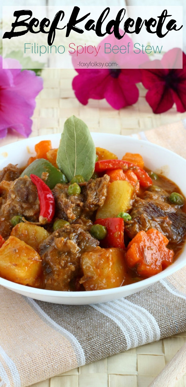 Beef Kaldereta (or Caldereta) is a Filipino spicy tomato-based beef stew loved by many Filipinos. This spicy dish is commonly served on holidays and special occasions. | www.foxyfolksy.com #stew #beef #slowcooking #filipinofood #filipinorecipes