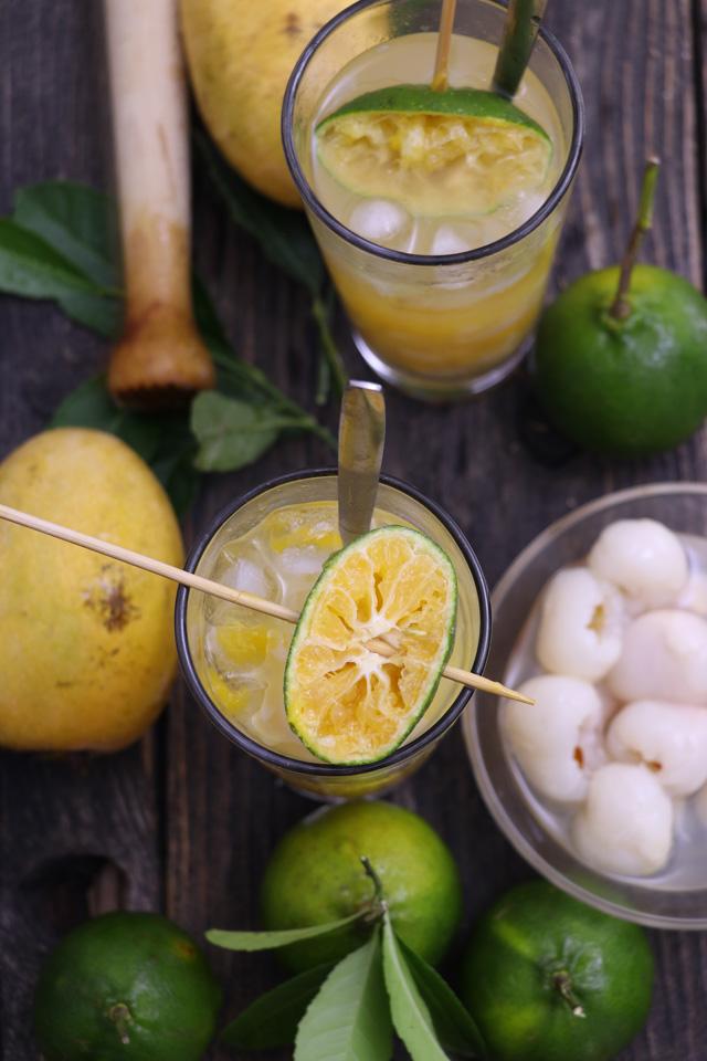 Hand-pressed Mango-Lychee and Dalandan Sling
