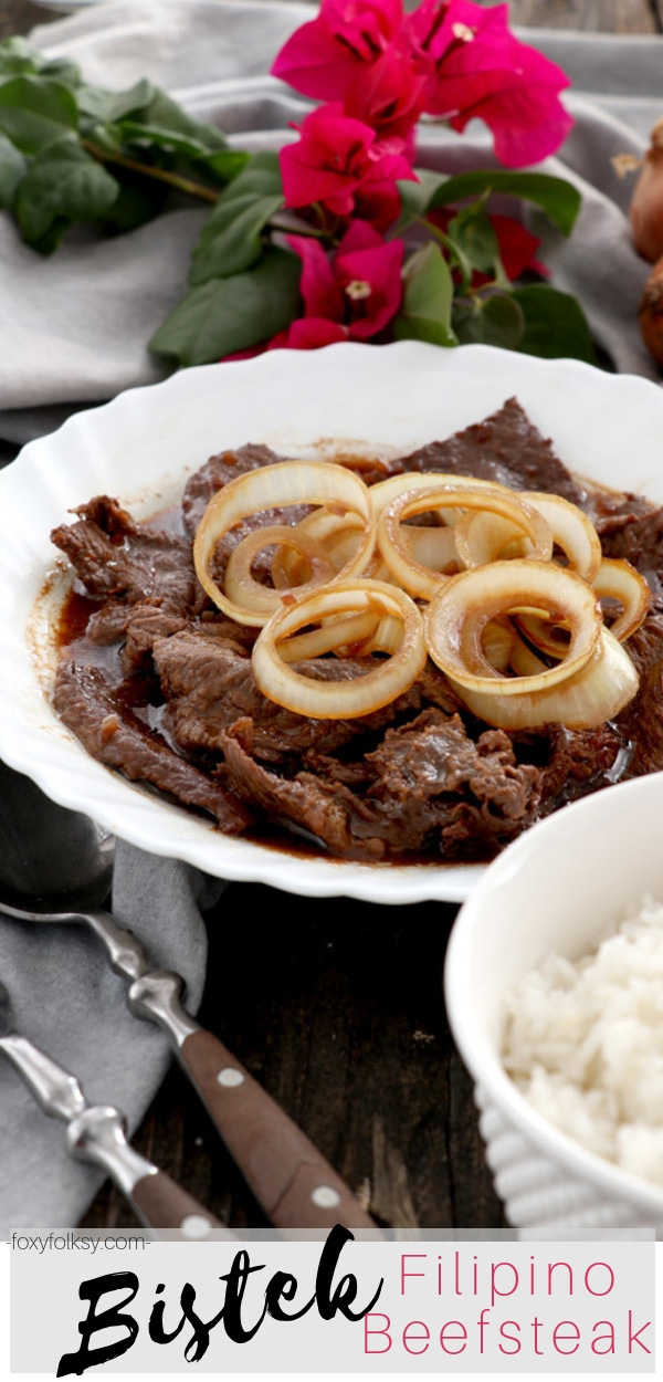 Bistek or Bistek Tagalog is a Filipino version beef steak marinated in soy sauce and kalamansi juice. Try this savory and flavor-rich dish now. | www.foxyfolksy.com #filipinodish #filipinorecipe #beefrecipe #maindish #foxyfolksy