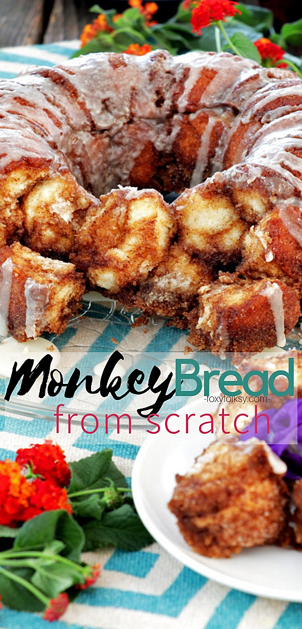 Try this homemade Monkey Bread. A pull apart bread with each morsel richly coated in cinnamon sugar and then drizzled with vanilla glaze. | www.foxyfolks.com #dessert #sweets #breakfast #snack #coffeetime #pastry