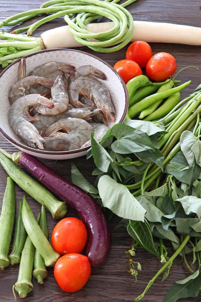 Sinigang na Hipon Ingredients