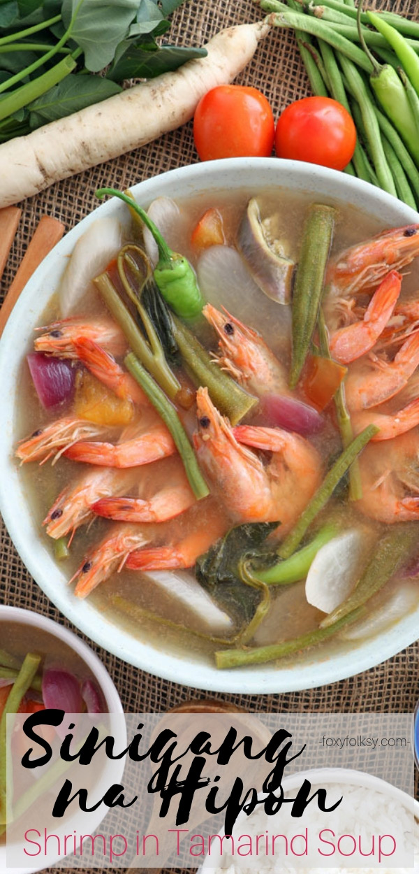 Pucker up and enjoy this Sinigang na Hipon, a Filipino sour soup with shrimp and vegetables using tamarind as the souring agent. |www.foxyfolksy.com #filipinofood #pinoyrecipes #sinigang #broth #stew #soup #healthy #asian