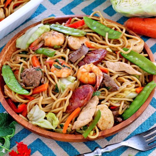 Pancit Canton with shrimps, chicken, liver and chinese sausage