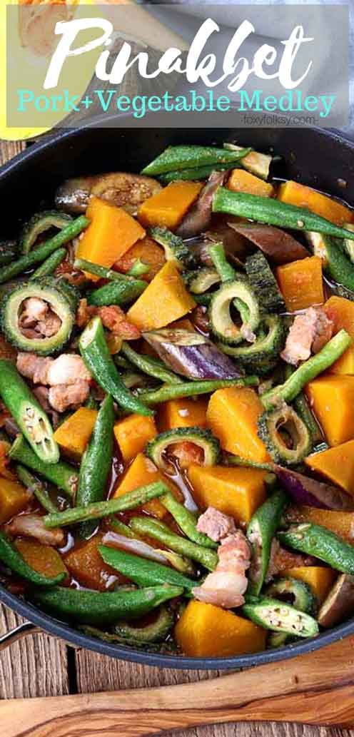 Pinakbet is a  vegetable-pork stew made from a mix of local vegetables like squash, eggplant, okra, yard-long beans, and bitter gourd distinctly flavored with shrimp paste. | www.foxyfolksy.com #vegetable #stew #filipinofood #filipinorecipe #easyrecipe