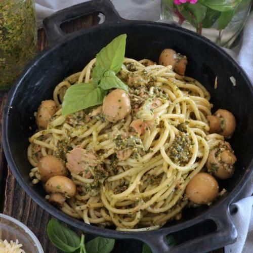 Pesto Pasta with Tuna and Mushrooms