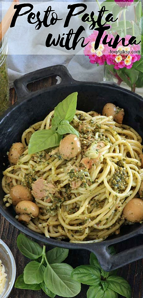 This Pesto Tuna Pasta is so simple yet so tasty! It is one great way to use canned tuna and turn it into a delectable meal in no time at all. | www.foxyfolksy.com #pesto #pasta #tuna #quickandeasy #onepotmeal #sidedish #dinner