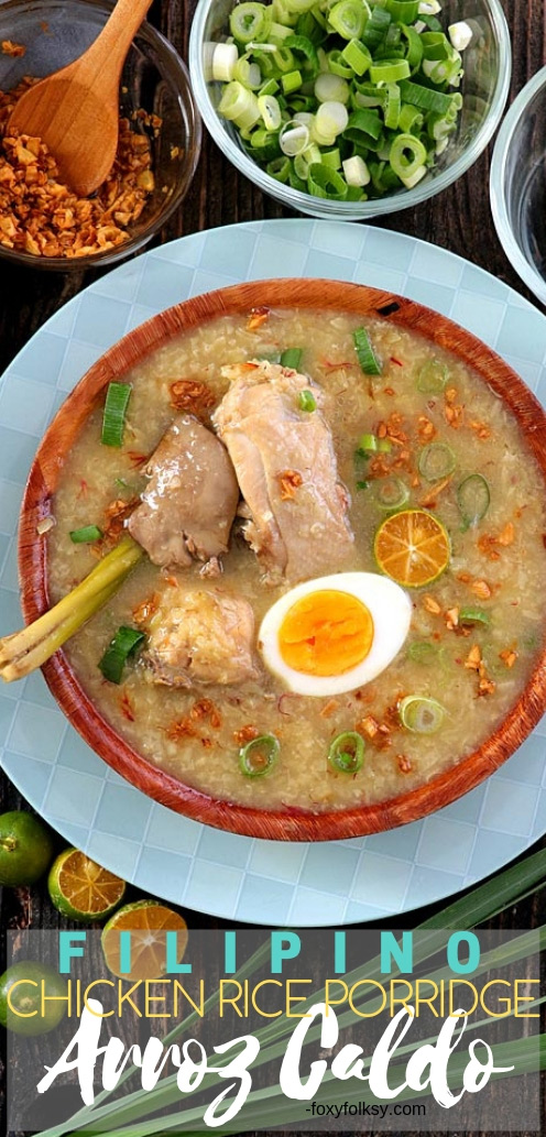 This Filipino Arroz Caldo is more than just a congee or rice porridge. Made flavorful and fragrant from all the spices like ginger, calamansi, and crispy garlic and zestier from the addition of lemongrass and safflower. | www.foxyfolksy.com #recipe #filipinofood #foxyfolksy #rice #porridge #comfortfood