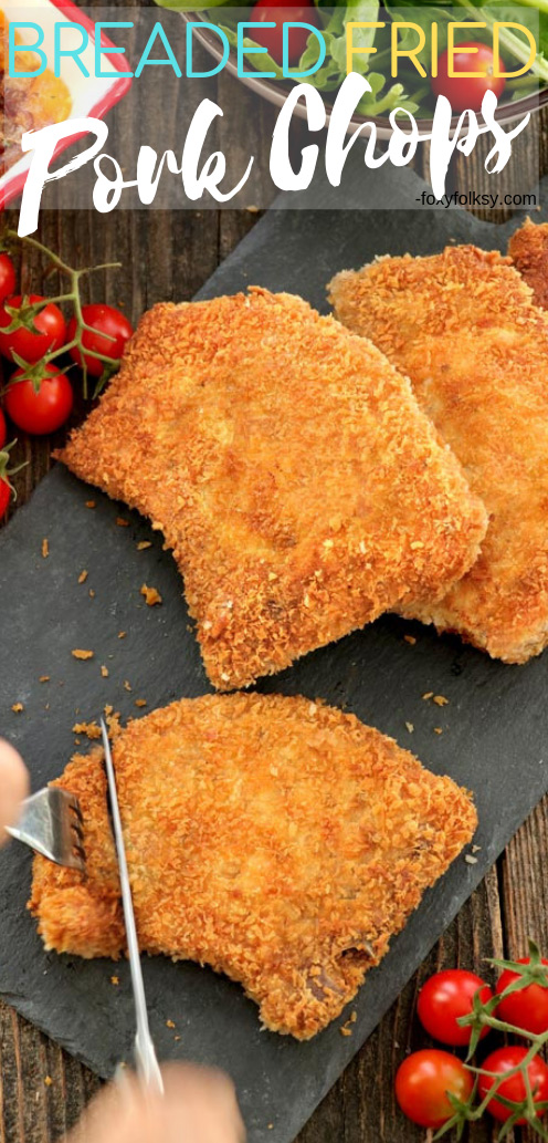 Make perfectly crispy pan-fried Breaded Pork Chops with tender, juicy inside meat all the time! This recipe uses Panko breadcrumbs for the breading. 