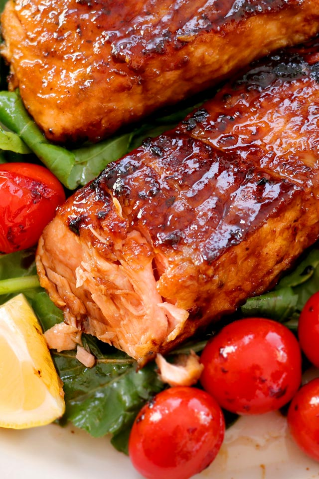 Pan-Seared Flaky Honey Glazed Salmon