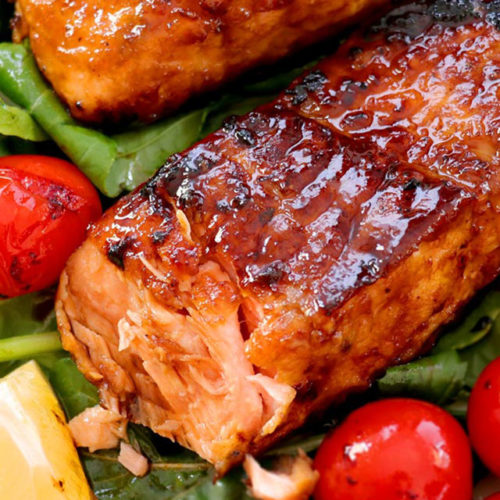 Pan-seared Honey Glazed Salmon with crispy charred edges and flaky, juicy meat