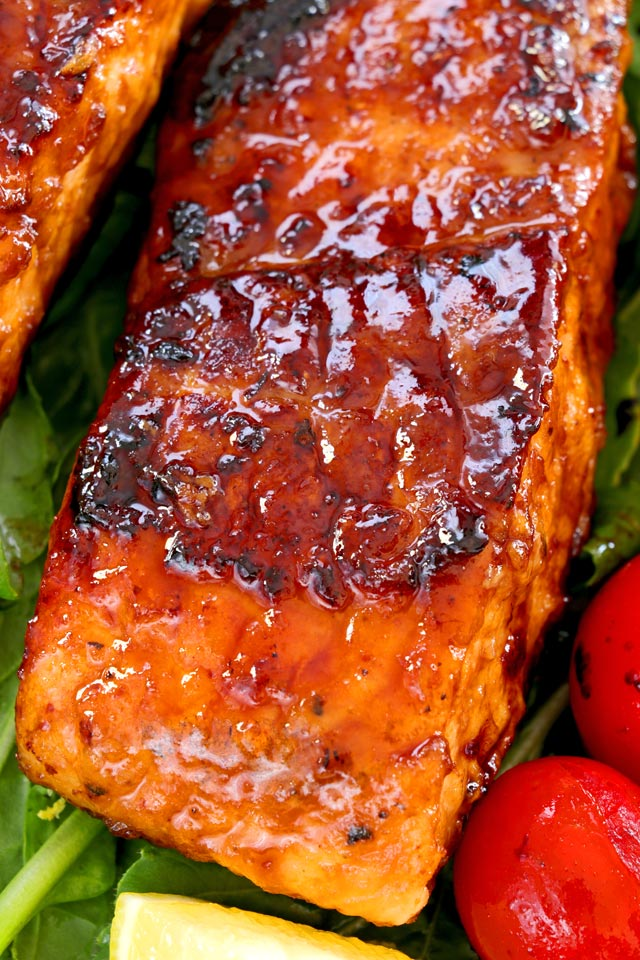 Pan-seared Honey Glazed Salmon with crispy charred edges