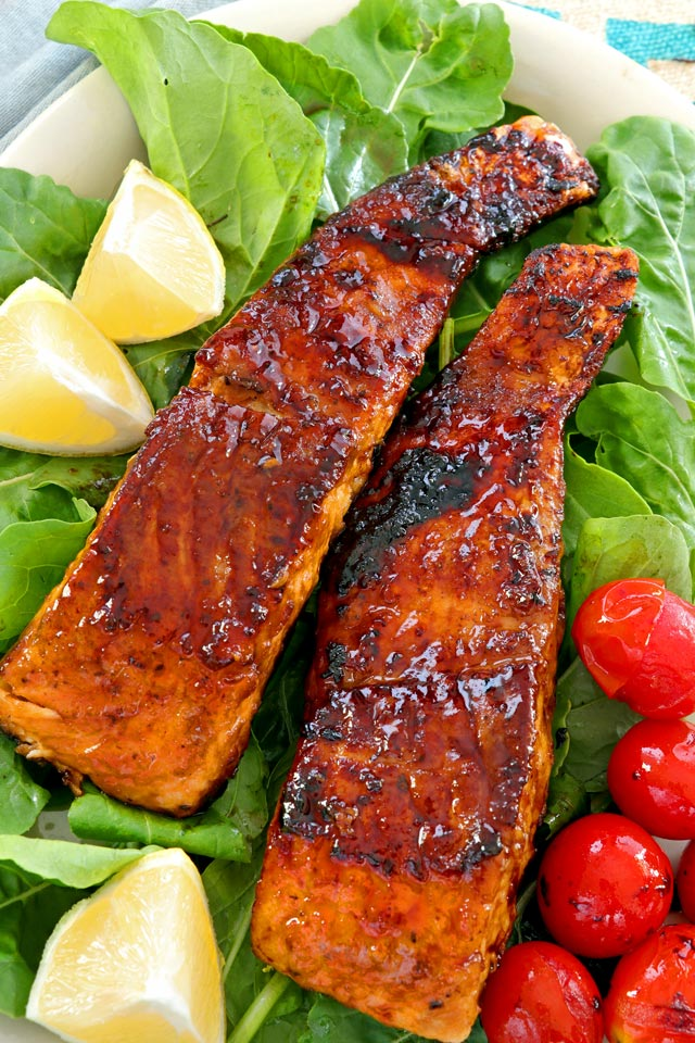 Crispy pan fried Honey Glazed Salmon with soy sauce