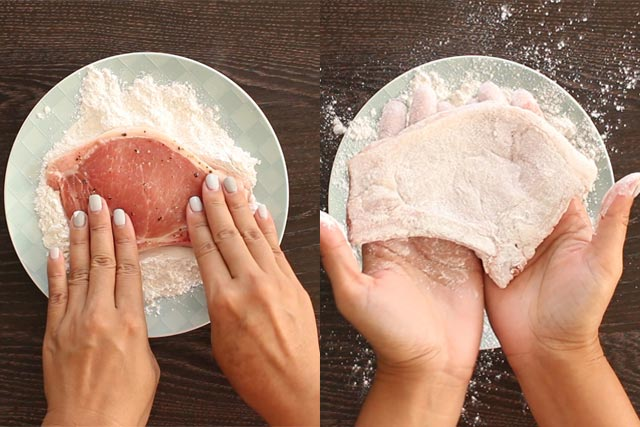 Dredging Pork Chops in flour