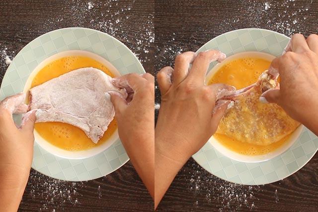 Coating Pork Chops in egg