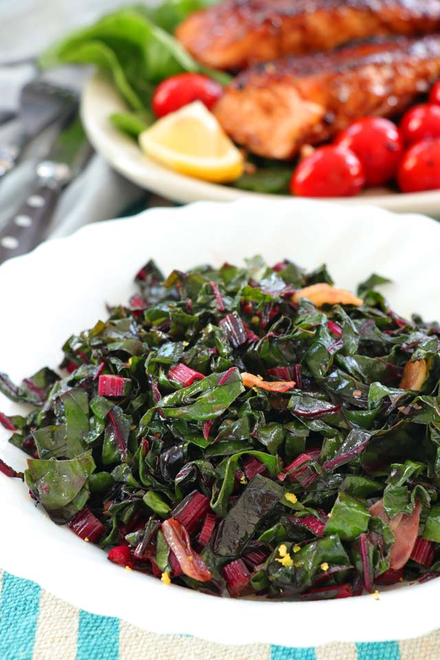 Sauteed Swiss Chard served with Salmon