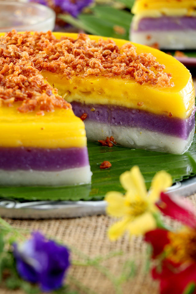 Sapin Sapin with 3 colorful layers of Purple yam, Jackfruit and Coconut.