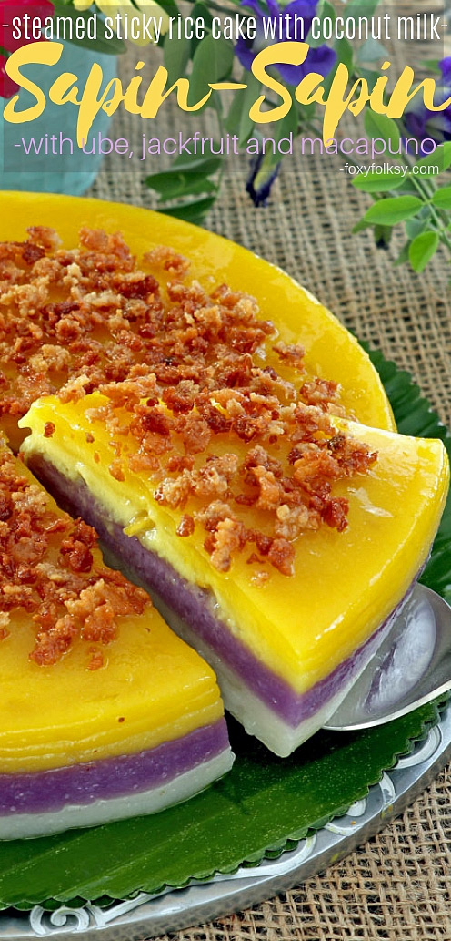 Not only one but three flavors to enjoy! Try this Sapin-Sapin, a Filipino dessert made from glutinous rice, coconut milk, sugar, and flavorings. | www.foxyfolksy.com #filipino #ricecake #dessert #delicacy #filipinofood #stickyrice #filipinorecipes #foxyfolksy