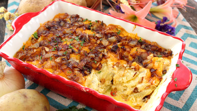 Cheesy Potato Casserole Recipe with caramelized onions