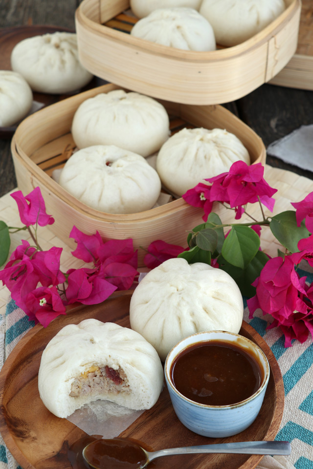 Filipino Steamed Pork Buns with minced pork, sakted egg and Chinese Sausage