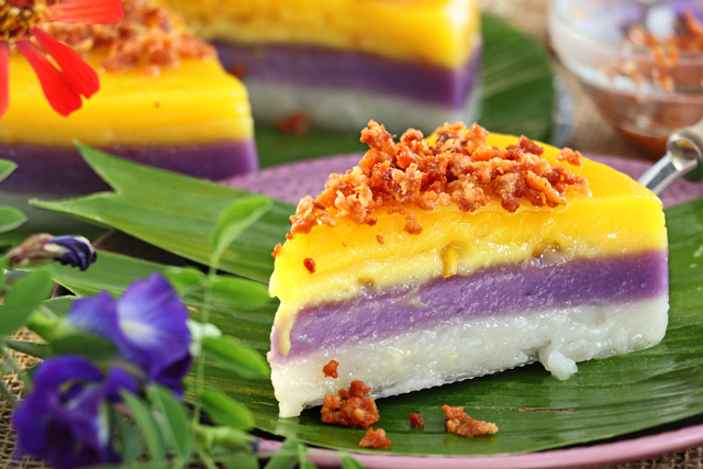 How to Make Sapin Sapin with macapuno, ube and langka flavors.