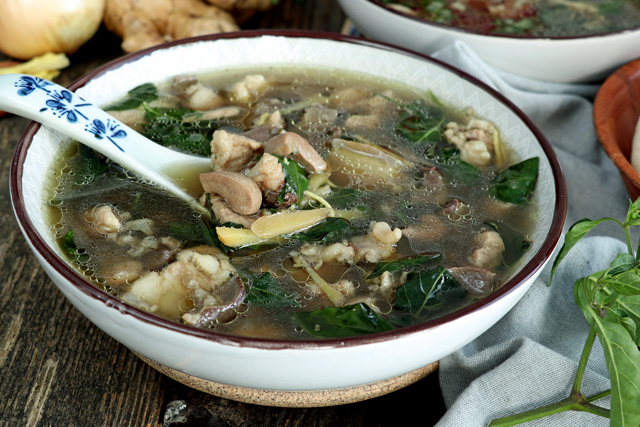 Kapampangan Batchoy Soup with lean pork, kidney and spleen in ginger broth