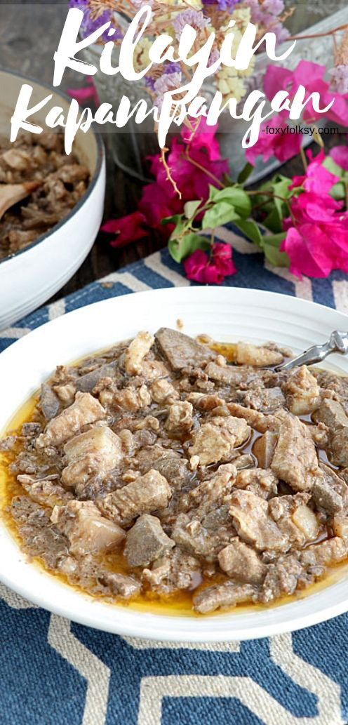 Kilayin is a stew of pork meat, liver, lungs, and spices in vinegar that is a true delicacy, one of the many dishes that the Kapampangan\'s are proud of. | www.foxyfolksy.com #pork #Pampanga #Kapampangandish #Filipinodish #stew #delicacy #filipino #easyrecipe