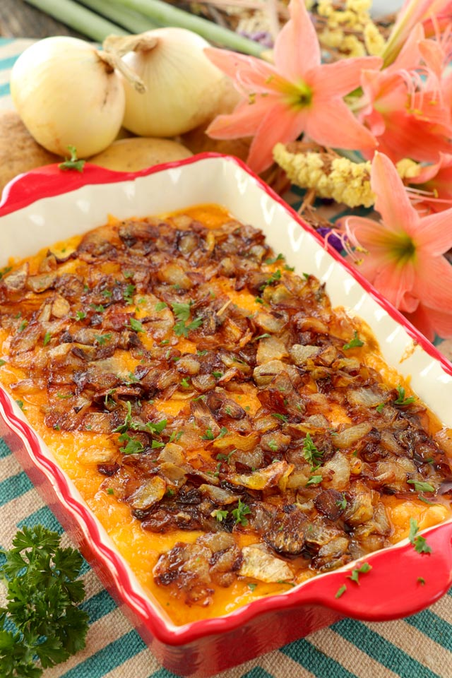 Potato Cheese Casserole with potato slices