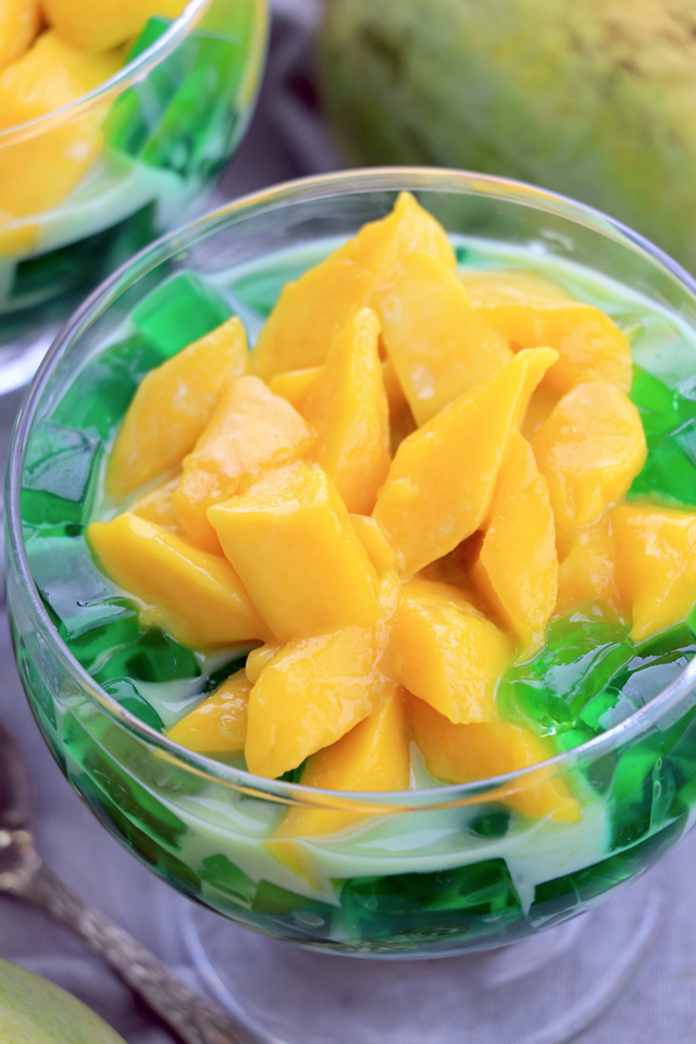 Mango Pandan dessert in a glass.
