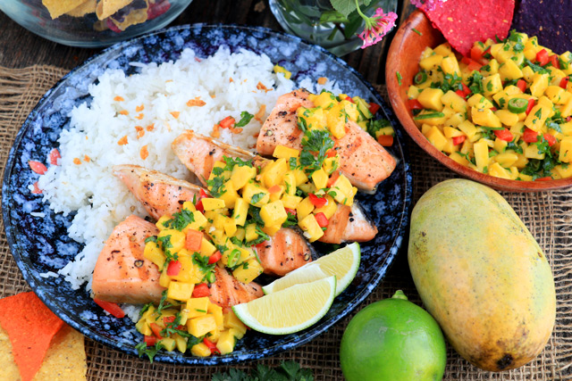 Salmon with Mango Salsa served over rice