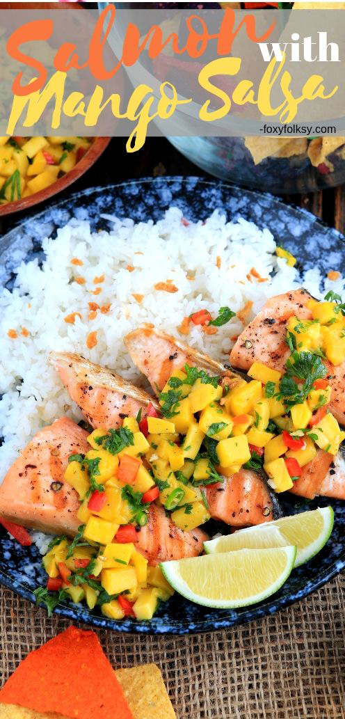 Pan-grilled salmon made more exquisite by lavishing it with sweet, tangy, and savory mango salsa. So easy and simple yet amazingly good! | www.foxyfolksy.com #salmon #pan-grilled #quickrecipe #salsa #mango # dip