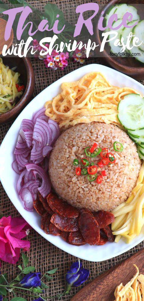This Thai fried rice with shrimp paste is usually served with various toppings that are tossed together to make a flavor-bursting rice dish! | www.foxyfolksy.com #rice #friedrice #asian #thairice #thaifood #shrimppaste #khaoklukkapi #asianfood #foxyfolksy