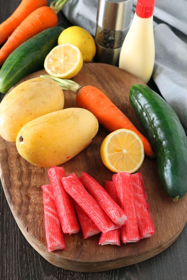 Kani Salad Ingredients: kani, cucumber, carrots, mango, Japanese mayo