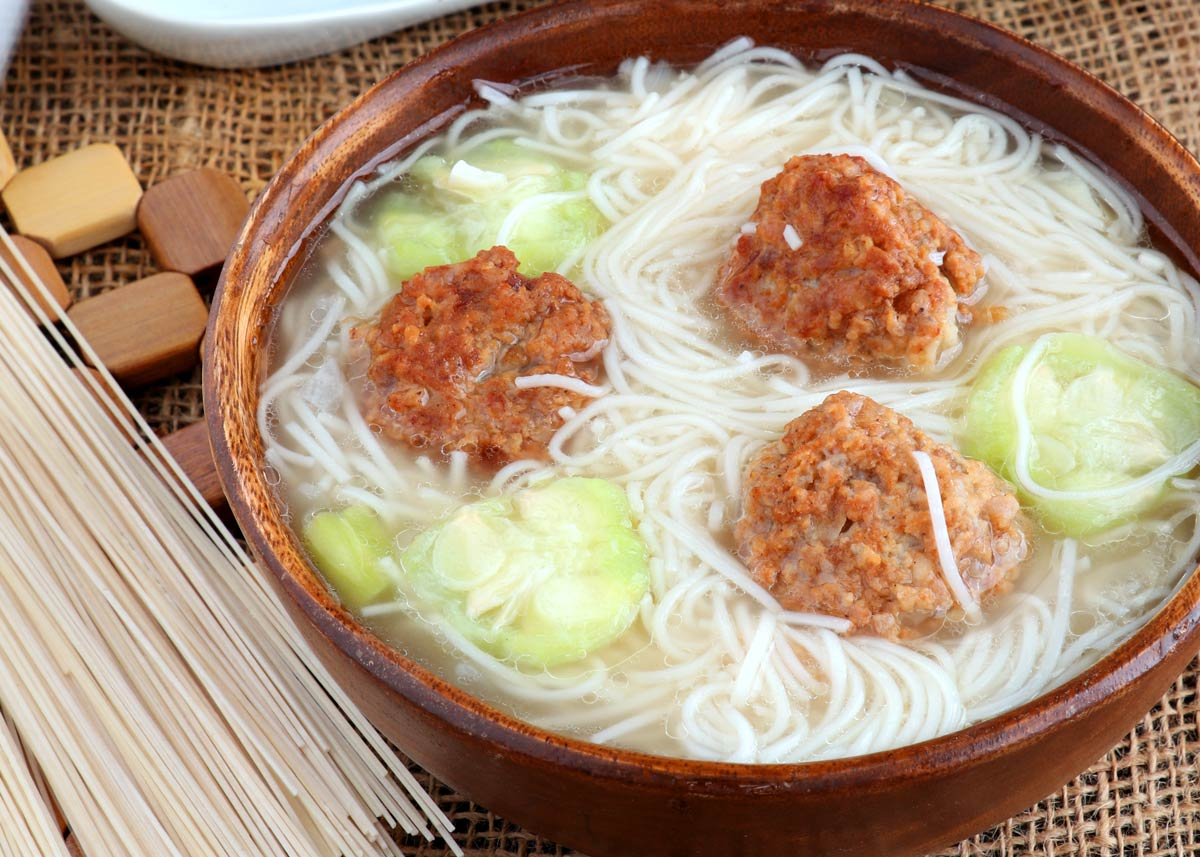 Meatball and noodle soup with patola.