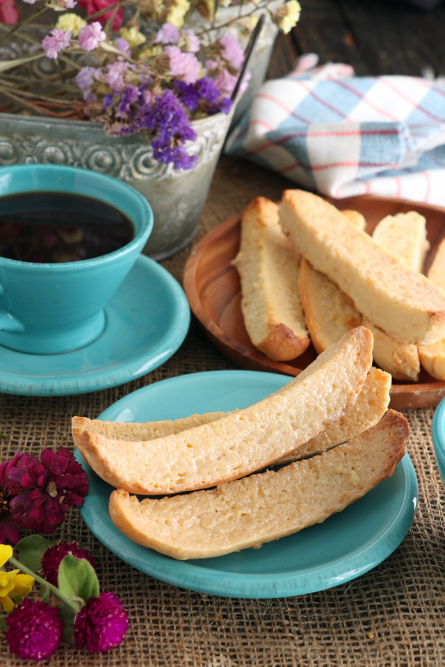 Biscocho with condensed milk