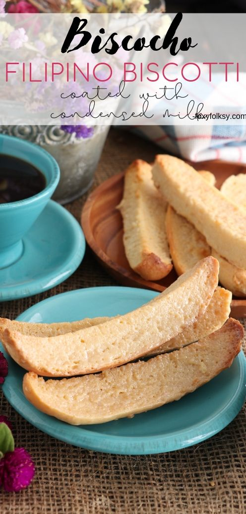 Biscocho or \'biskotso\' is a Filipino version of biscotti. It is toasted bread that is usually topped or coated with butter and sugar. But this version uses condensed milk instead. | www.foxyfolksy.com #bread #pastry #baked #biscotti #machacao #snack #filipinofood #filipinorecipe