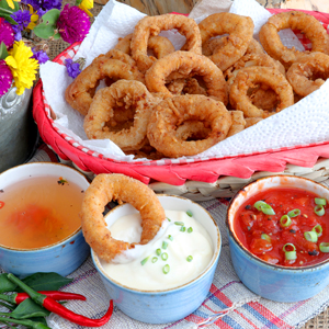 Calamares or fried squid rings with 3 dipping sauce.