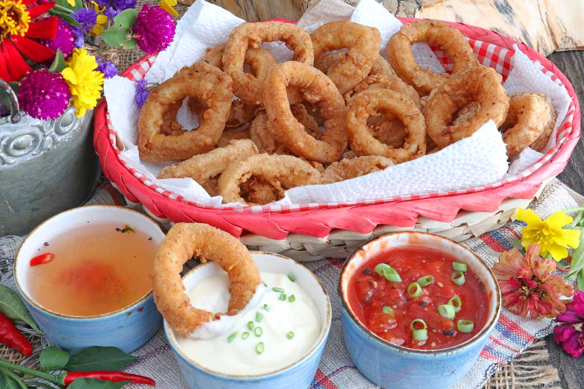 Calamari - battered squid rings fried to golden finish