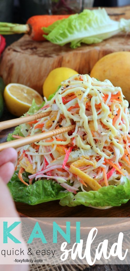 This quick and easy Kani Salad recipe is quite refreshing with sweet notes from ripe mangoes creamy Japanese mayo. | www.foxyfolksy.com #salad #japanese #appetizer #starter