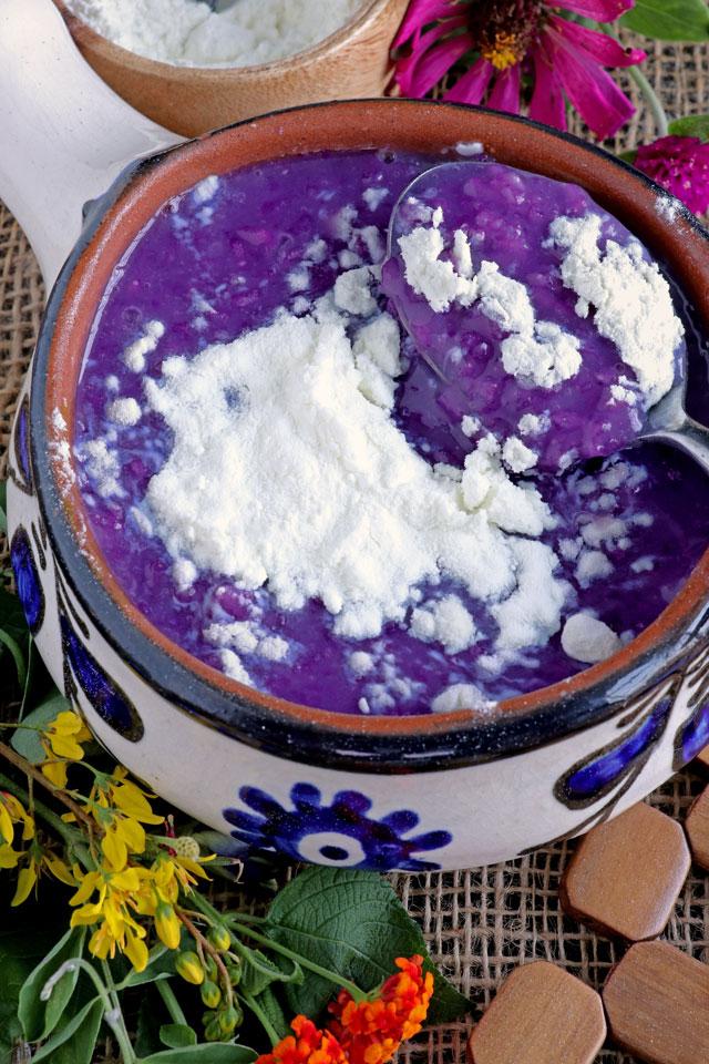 Ube Champorado with powdered milk