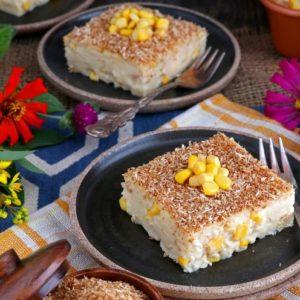 Maja Blanca Coconut Milk Pudding with corn