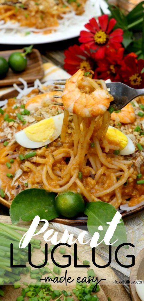 Pancit Luglug is a Kapampangan noodle dish made of cornstarch noodles with vibrant orange savory sauce and loads of toppings. Perfect for any occasions or simply as merienda or snack. | www.foxyfolksy.com #filipinofood #filipinorecipe #snacks #noodles #foxyfolksy