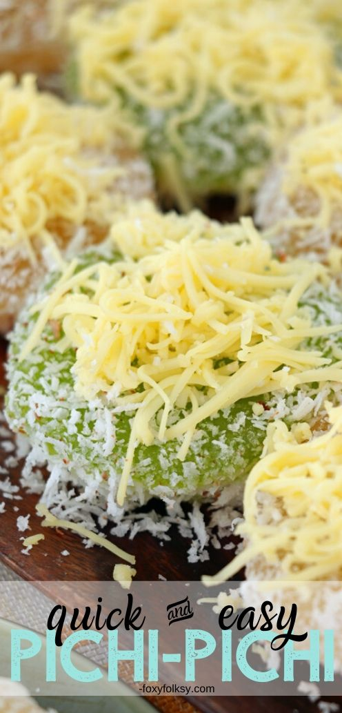 Pichi pichi is a Filipino dessert made basically from cassava, water and sugar. It is steamed and becomes glutinous and then coated with grated coconut. | www.foxyfolksy.com #recipe #asianfood #dessert #filipinofood #foxyfolksy