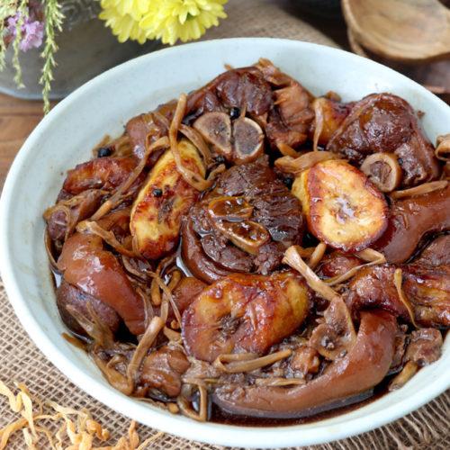 Pork Estofado with banana blossoms and fried saba