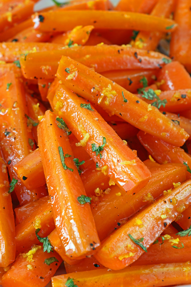 Honey Glazed Carrots with orange Zest and Parsley