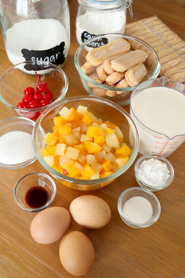 Ingredients: ladyfingers, fruit cocktail, egg yolks, cornstarch, sugar, milk, vanilla, gelatin