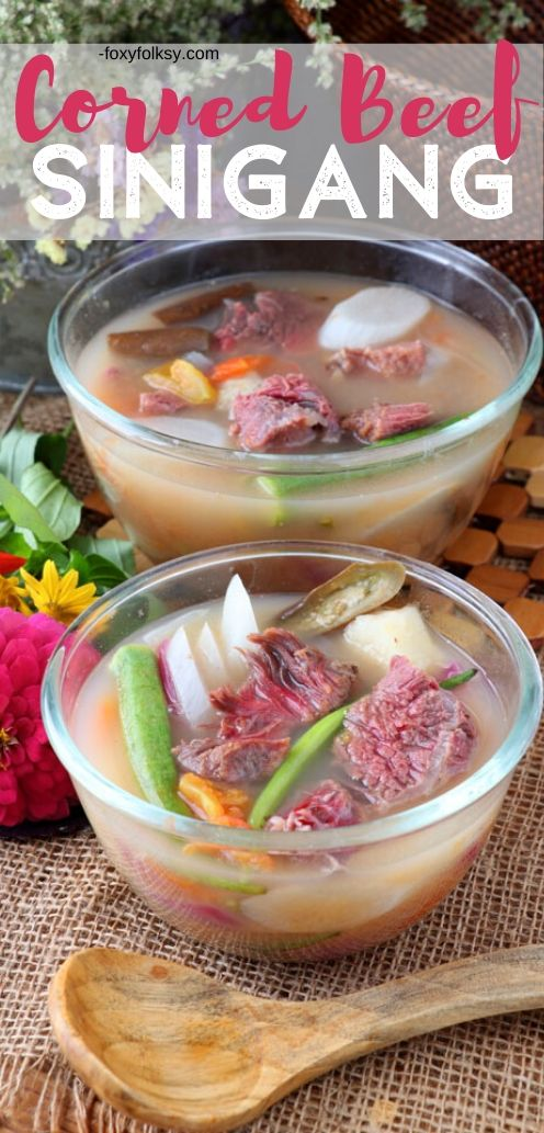 East meets west in this special soup dish that is the combination of two well-loved dishes that are from worlds apart. Meet Corned Beef Sinigang! | www.foxyfolksy.com #sinigang #cornedbeef #soup #Filipinodish