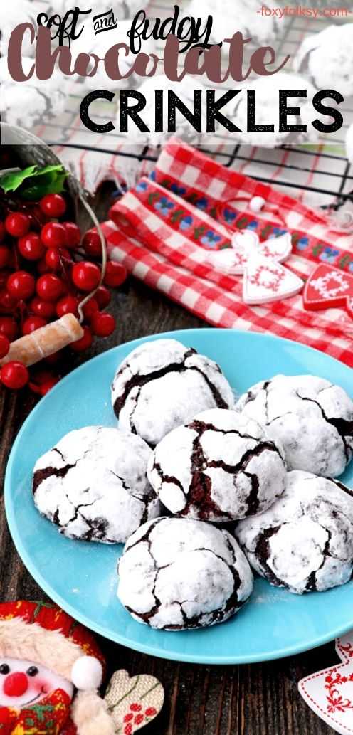 Try this easy recipe for soft and fudgy chocolate crinkle cookies covered in confectioners sugar, making a crinkled outer layer as they bake. So easy and yummy. | www.foxyfolksy.com #recipe #cookies #foxyfolksy #crinkles