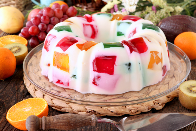 Jelly dessert with in multiple colors and flavors.