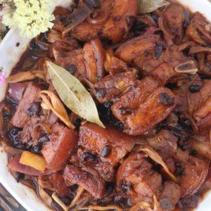 Braised pork belly in sweet-savory soy-vinegar sauce.