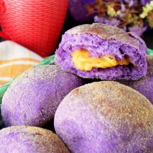 Ube Pandesal with melty cheese filling